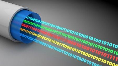 3d illustration of binary data stream inside fiber...