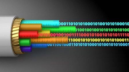 Abstract 3d illustration of digital data inside ca...