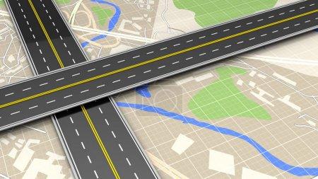 Roads cross over map