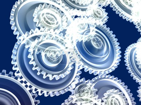 Photo for 3d illustration of transparent gear wheels - Royalty Free Image