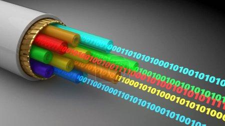 3d illustration of binary digital data inside fibe...