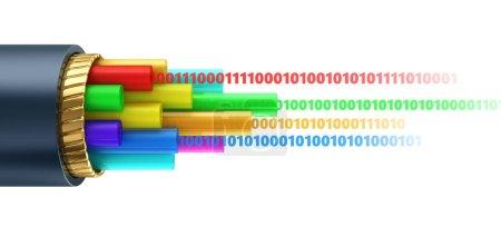 3d illustration of binary digital data inside blac...