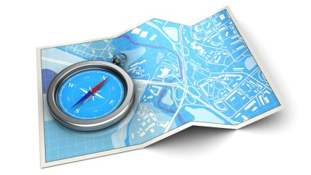 Blue map with compass