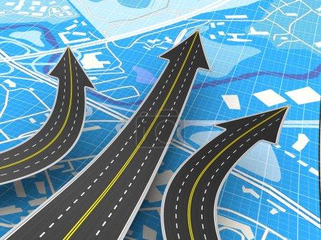 three black roads with arrows