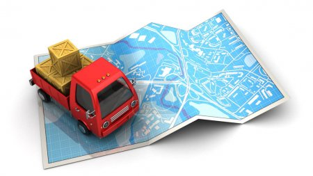 red truck placing on folded map