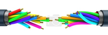 3d illustration of  colored fiber optics cables co...