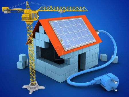 house with solar power and crane