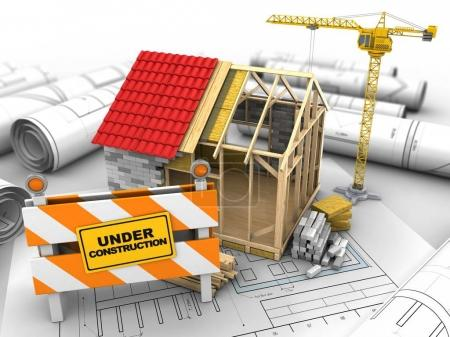 Photo for 3d illustration of frame house structure over drawing rolls background with crane - Royalty Free Image
