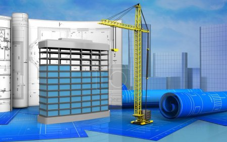 3d illustration of building construction with draw...