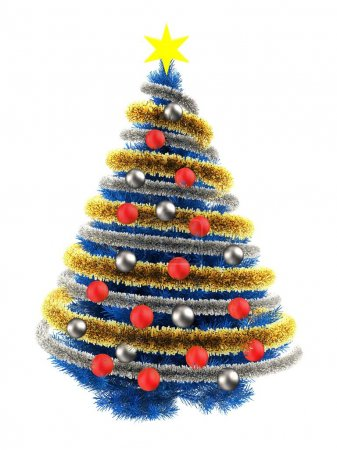3d illustration of blue Christmas tree over white ...