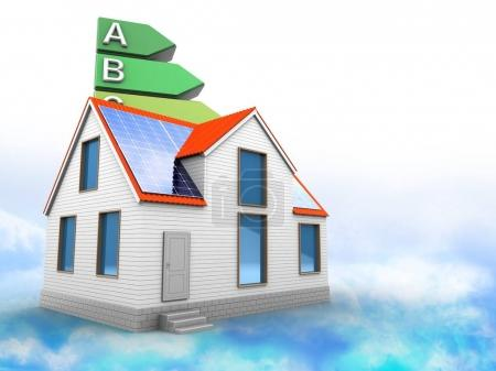 3d illustration of energy rating over clouds background with modern house