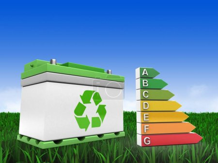 3d illustration of car battery over meadow background with efficient ranks