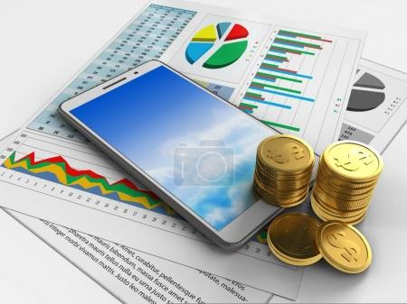 3d illustration of white phone over white background with business papers and coins