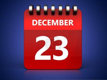 3d illustration of december 23 calendar over blue background