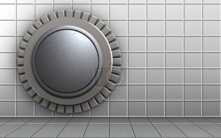 3d illustration of vault door  template  over white wall background