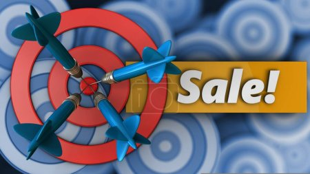 3d illustration of target circles with sale over many targets background