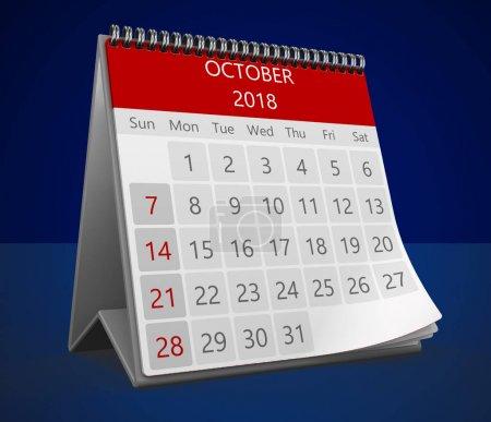 3d calendar on blue