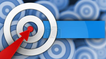 3d illustration of white taget with red arrow over many targets background