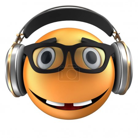 3d illustration of orange emoticon smile with headphones over white background