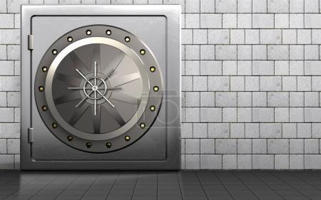 3d illustration of metal safe with vault door over white stones background