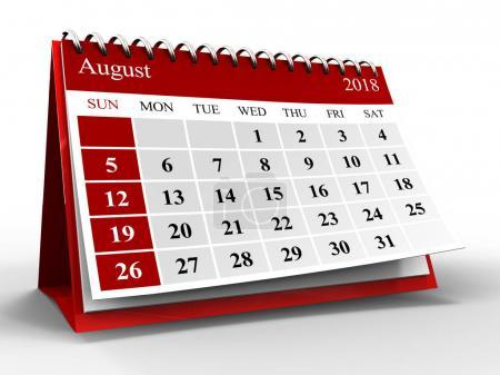 3d illustration of calendar over white with shadow, august 2018