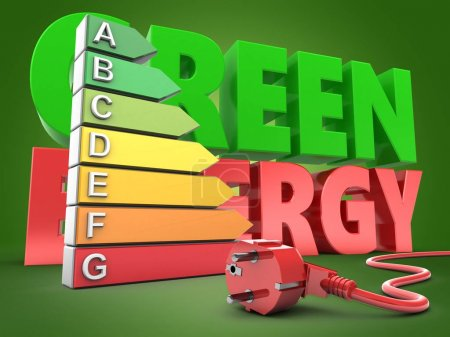 3d illustration of energy ranking over green background with green energy sign and power cord