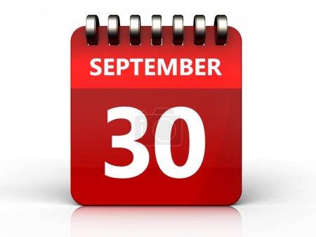 september 30 calendar over white background