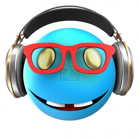 3d illustration of blue emoticon smile with headphones over white background