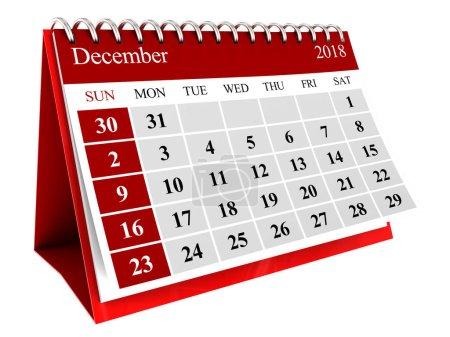 3d illustration of december month calendar isolated over white background