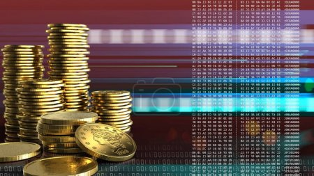 illustration of coins over red cyber background