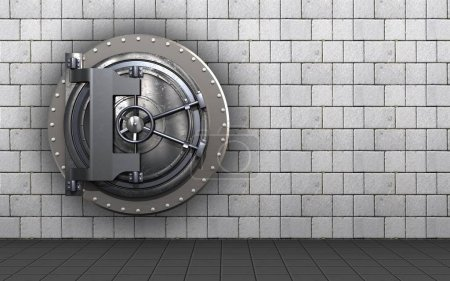 vault door  over white stones background