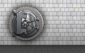 vault door  over white stones background