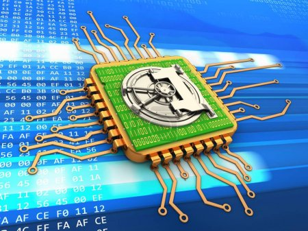 Photo for 3d illustration of golden computer processor over code background with vault door and with code inside - Royalty Free Image