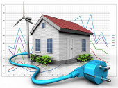 3d illustration of wind energy house with cable over diagram background