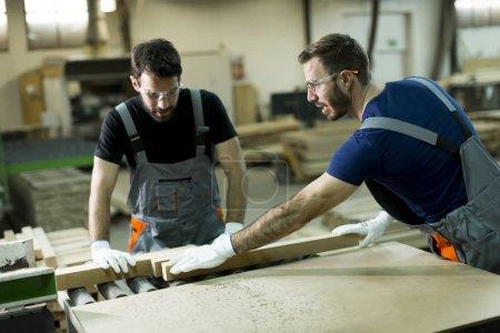 Young men working in lumber workshop