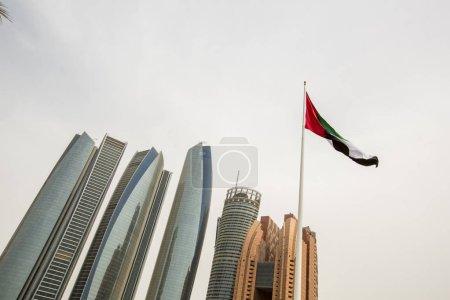 Flag of United Arab Emirates in sky