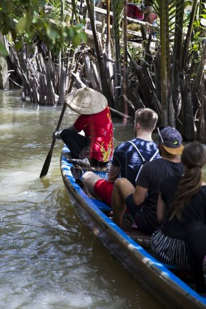 People in the boat at Mekong Delta