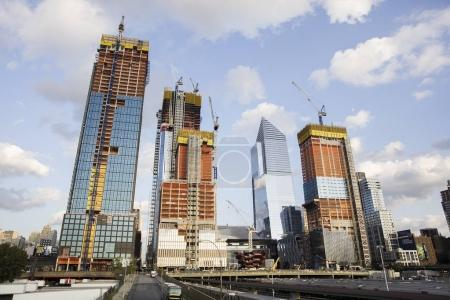 NEW YORK, USA - AUGUST 31, 2017: Construction site of 30 Hudson Yards in West Chelsea, New York City. When completed, it will be 395m super tall office building.