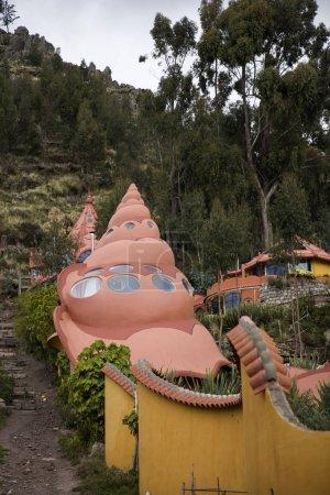 COPACABANA, BOLIVIA - JANUARY 7, 2018: Detail of Hostal Las Olas in Copacabana, Bolivia. This unusual hotel on Tititcaca lake was made by German sculptor Martin Stretker.