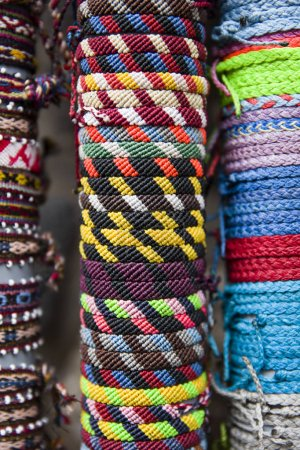 Traditional handcrafted goods on the street market in Cusco, Peru