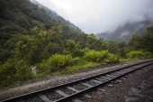 Railroad between Cusco and Machu Picchu at Aguas Calientes in Peru