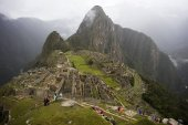 Aerial view at Machu Picchu ruins in Peru