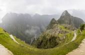 Aerial view at Machu Picchu ruins in Peru