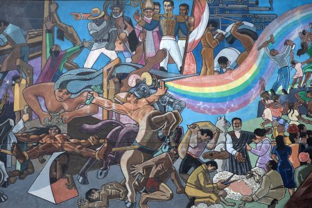 CUSCO, PERU - JANUARY 5, 2018: Detail of mural in Cusco, Peru. Mural that shows the entire history of Peru was made by Juan Bravo in 1992.