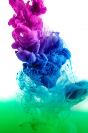 The colorful dye in the water.