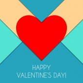 Happy Valentine's Day Congratulations Card in Material Design Style Red Paper Hearts on Colorful Background Vector Illustration