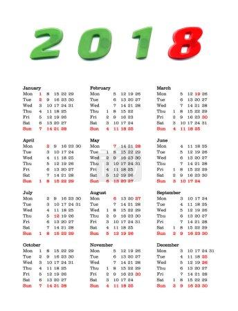 year 2018 calendar - United Kingdom