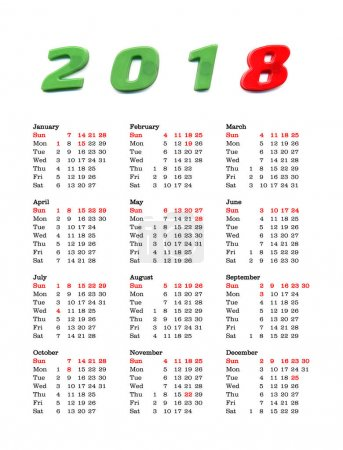 year 2018 calendar - United States Of America