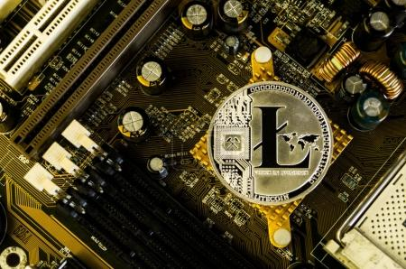 Omsk, Russia - August 4, 2017: Litecoin is a modern way of exchange and this crypto currency is a convenient means of payment in the financial and web markets