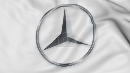 Close up of waving flag with Mercedes-Benz logo, 3D rendering